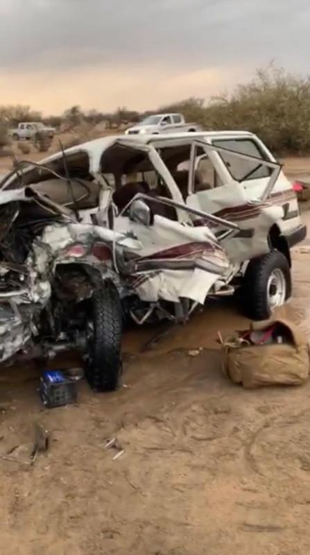وفاة و8 إصابات في حادث تصادم مروع قبيل الإفطار على طريق كلاخ ـ السديرة