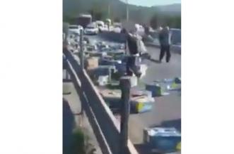 شاهد.. جزائريون يسرقون الموز في نهار رمضان بعد تعرض شاحنة لحادث مروع - المواطن