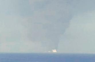 صورة للنيران المشتعلة بناقلة النفط في خليج عمان - المواطن
