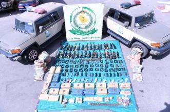 دوريات الأفواج الأمنية تحبط محاولات تهريب كمية من المخدرات والأسلحة وتقبض على المتورطين 1
