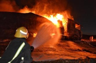 المدني يتدخل لإخماد حريق شاحنتي وقود ومواد غذائية في حائل - المواطن