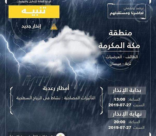 أمطار رعدية على الطائف وميسان والعرضيات وتربة