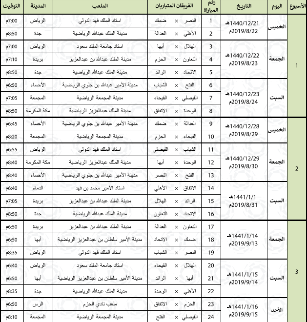 جدول مباريات الدور الأول من الدوري السعودي