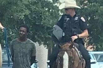 غضب عارم في أمريكا بعد اقتياد الشرطة لرجل أسمر بحبل - المواطن
