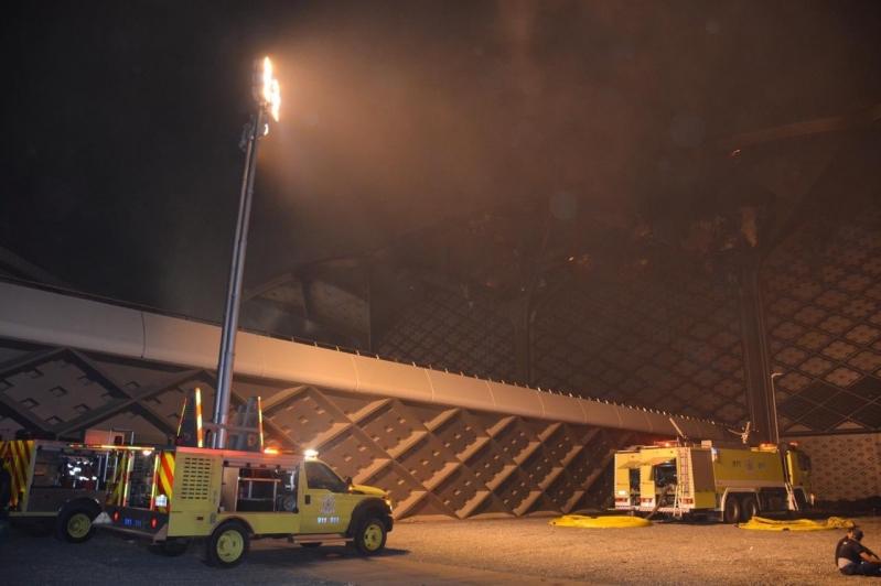 السيطرة على 75 % من حريق محطة قطار الحرمين