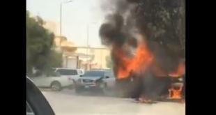 شاهد.. قائد جمس أكاديا الشجاع يصدم سيارة مشتعلة تفاديًا لكارثة