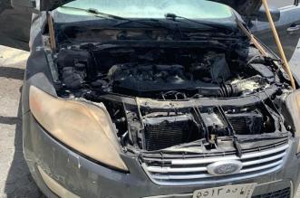 نجاة مواطن احترقت سيارته على الطريق في نجران - المواطن