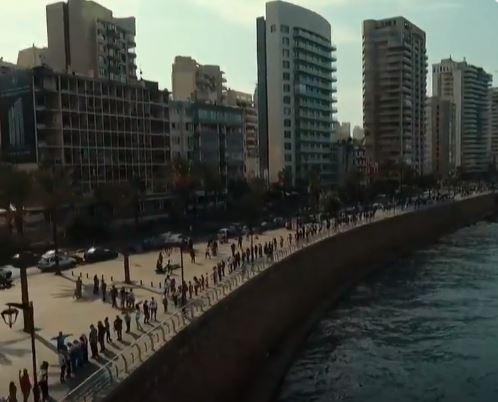شاهد.. سلسلة بشرية من جنوب لبنان إلى شماله