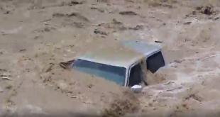 شاهد.. السيل العملاق يجرف المركبات في عمان