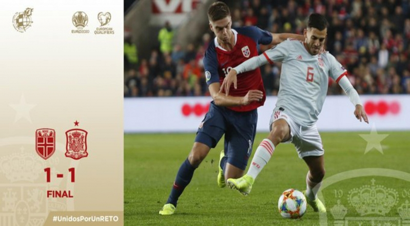إسبانيا تسقط في فخ التعادل أمام النرويج بتصفيات يورو 2020