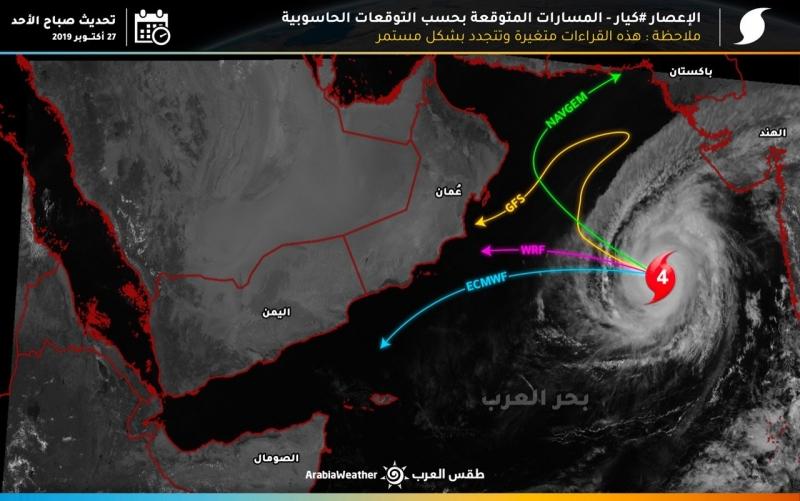 خريطة مسارات إعصار كيار في بحر العرب - المواطن