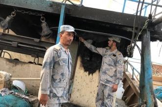 حرس الحدود بالخفجي ينقذ 4 بحارة احترق قاربهم في عرض البحر - المواطن