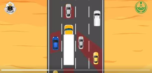 طريقة تفادي النقاط العمياء لدى سائق الشاحنة