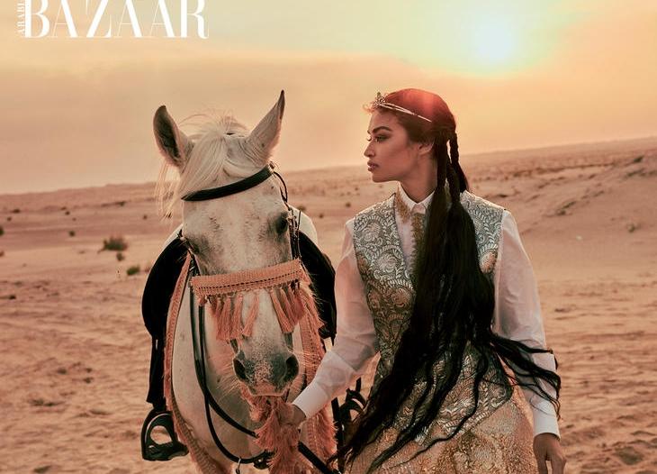 عارضة أزياء سعودية تتصدر غلاف هاربر بازار