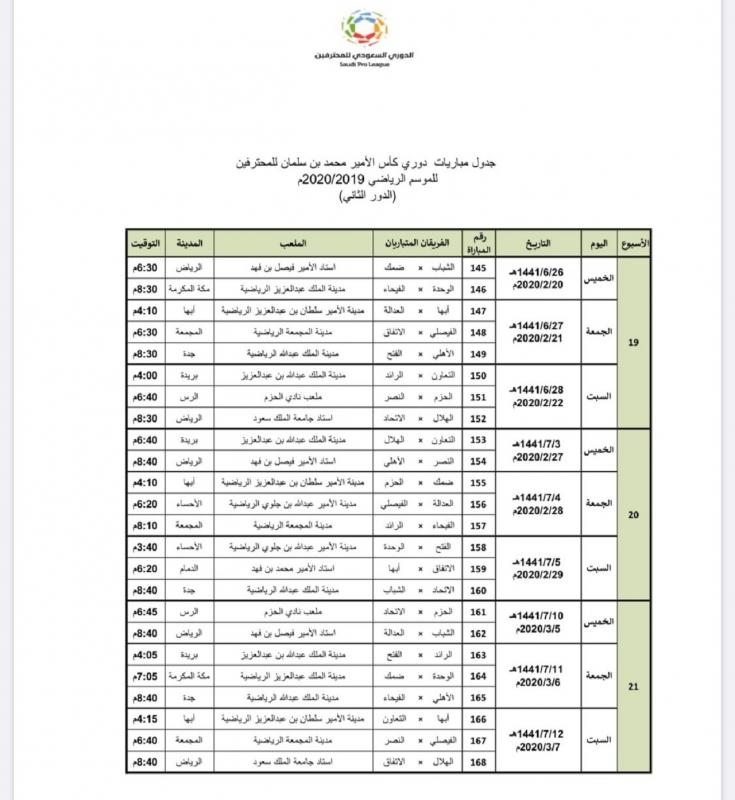 المسابقات تعلن جدول مباريات الدور الثاني من دوري المحترفين صحيفة