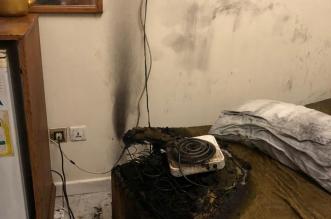صور.. سخان كهربائي يشعل حريقاً داخل فندق بالمدينة - المواطن