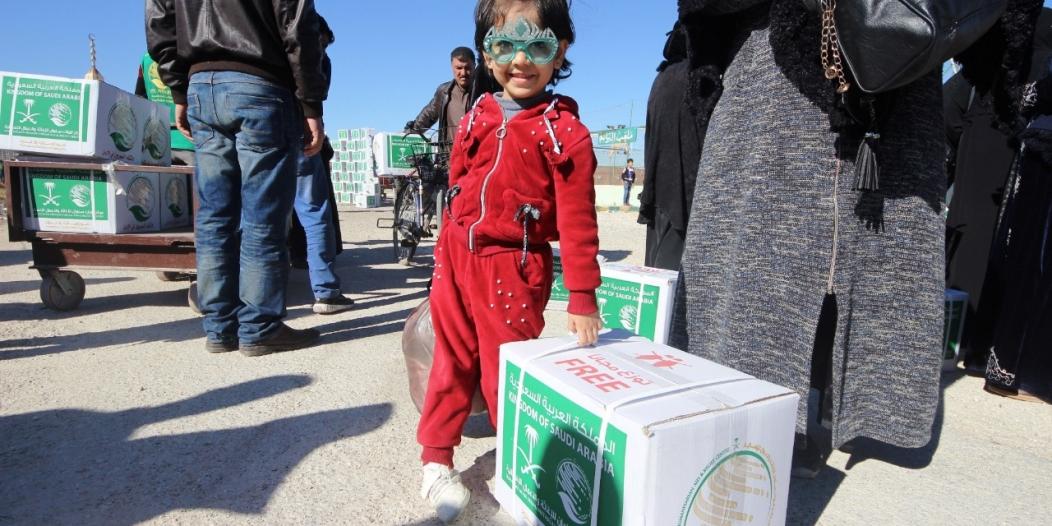 المملكة توزع 24 طناً مواد غذائية على اللاجئين السوريين