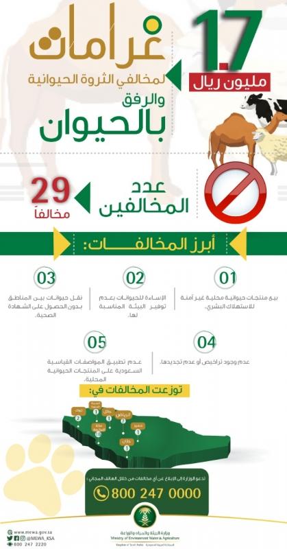 تغريم 29 مخالفاً لنظامي الثروة الحيوانية والرفق بالحيوان 1.7 مليون ريال - المواطن