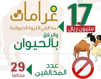 تغريم 29 مخالفاً لنظامي الثروة الحيوانية والرفق بالحيوان 1.7 مليون ريال