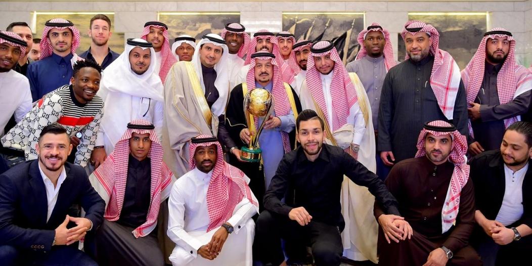 أمير الرياض يستقبل رئيس وأعضاء نادي النصر احتفالًا بالسوبر