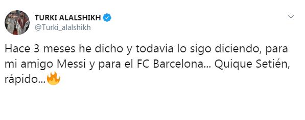 تركي آل الشيخ ينصح ميسي بمدرب جديد لـ برشلونة - المواطن