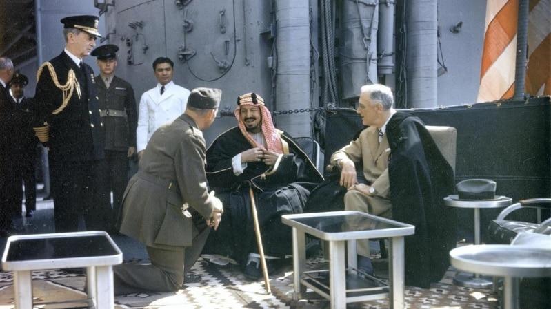 اجتماع الملك المؤسس مع روزفلت