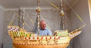 بحار يستخدم 4.1 مليون عود ثقاب لبناء نموذج سفينة