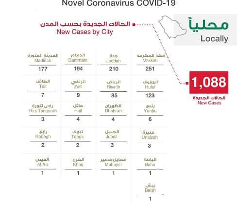 توزيع حالات كورونا الجديدة .. مكة المكرمة 251 حالة