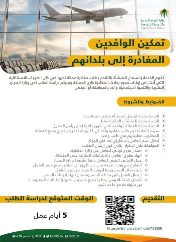 ضوابط وشروط مبادرة تمكين الوافدين من العودة لبلادهم - المواطن