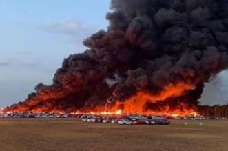 شاهد.. حريق يدمر 3500 سيارة بالقرب من مطار فلوريدا - المواطن