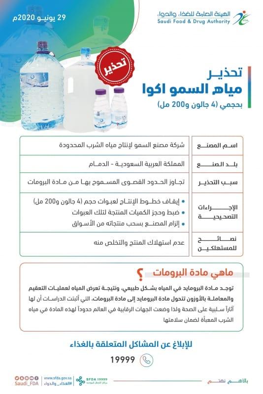 الغذاء والدواء تحذر من مياه السمو أكوا ذات الأحجام 4 جالون و 200 مل