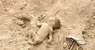 بالفيديو.. انتشال رضيع دفن حيًا