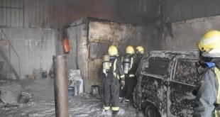 حريق بدون إصابات في ورشة سيارات بالرياض