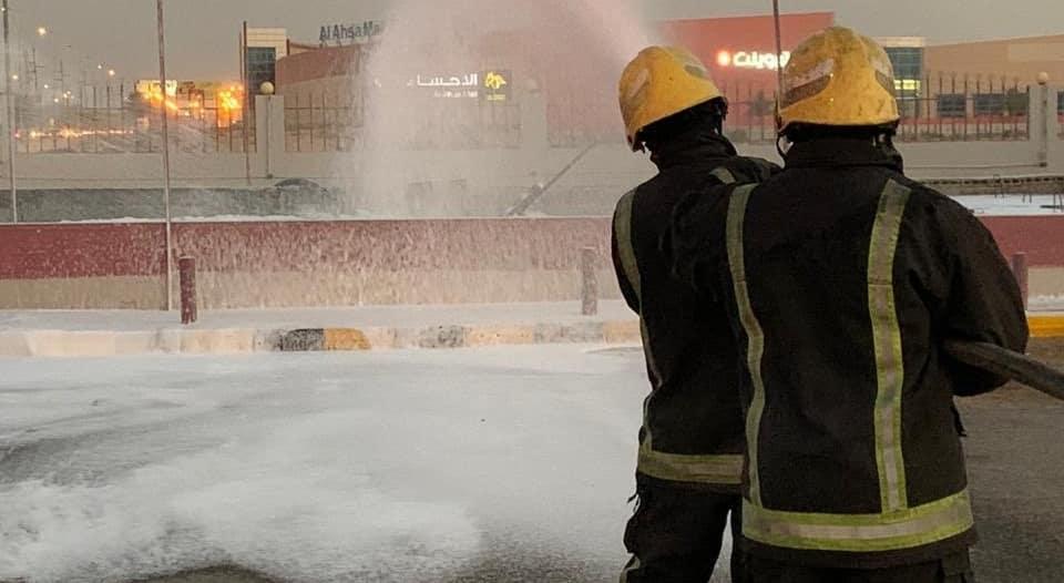 حريق في خزان وقود لمحطة بالأحساء