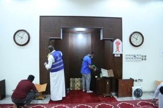 تعقيم مساجد ومصليات فروع الموارد بالرياض وتوزيع مستلزمات الوقاية