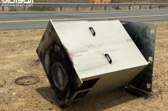 مجهول يحرق جهاز ساهر على طريق الفطيحة في عسير - المواطن