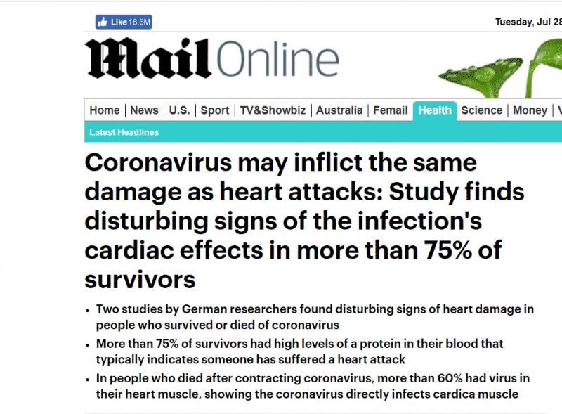 كوفيد-19 قد يتسبب بضرر في القلب يوازي النوبات القلبية (2)