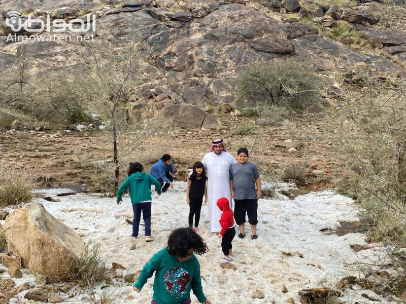 بالفيديو.. الأمطار والبرد وجريان الأودية تجذب المتنزهين بجوف آل الشواط - المواطن