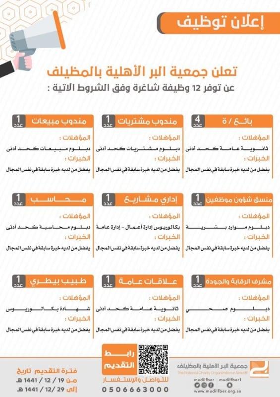 #وظائف شاغرة للجنسين في جمعية البر بالمظيلف - المواطن