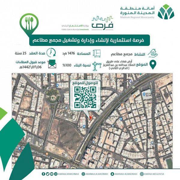 فرصة استثمارية لإنشاء وإدارة مجمع مطاعم بمساحة 1476 م بالمدينة