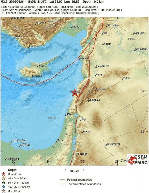 تفجير بيروت يسجل هزة أرضية بقوة 3.3 درجة ريختر