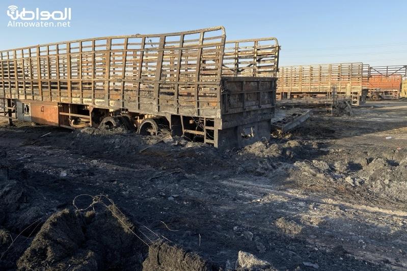 خسائر حريق سوق الأعلاف بحفر الباطن تجاوزت 1.5 مليون ريال.. ماذا طلب التجار؟