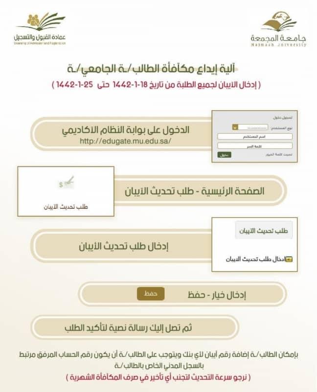جامعة المجمعة تودع مكافآت الطلاب في حساباتهم الشخصية