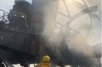 حريق رافعة الكويت