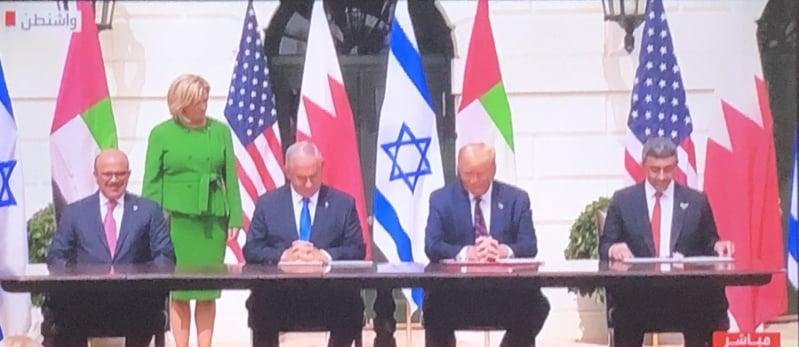 توقيع إتفاقية السلام التاريخية بين الإمارات والبحرين وإسرائيل