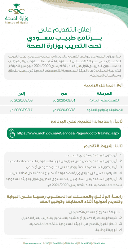 الصحة تعلن مواعيد التقديم على برنامج طبيب سعودي تحت التدريب   صحيفة المواطن  الإلكترونية