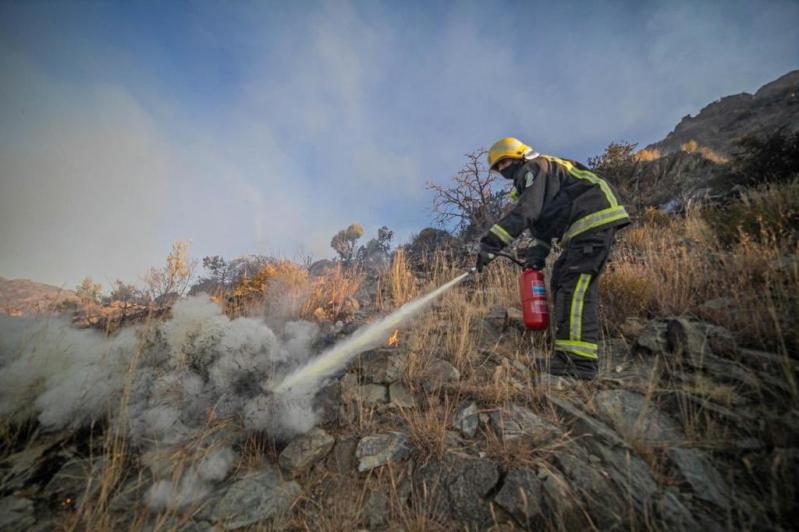 الدفاع المدني يحاصر حريق تنومة لمنع وصوله للمناطق السكنية - المواطن