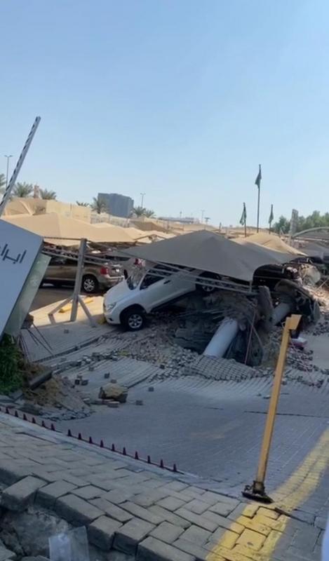 فيديو.. الدفاع المدني يتعامل مع حالة محتجزة تحت أنقاض مواقف برج الخبر