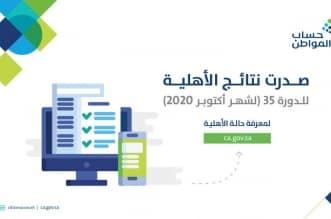 حساب المواطن يعلن نتائج الأهلية للدفعة 35 استحقاق أكتوبر - المواطن