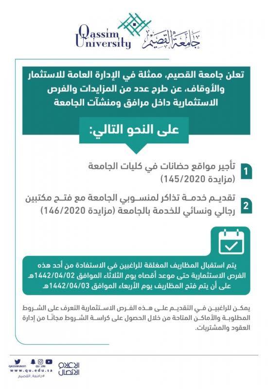 جامعة القصيم تطرح عدداً من المزايدات والفرص الاستثمارية - المواطن